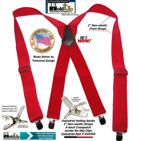 "Red Industrial Series 2"" Wide Holdup Work Suspenders with Jumbo Silver-tone No-slip clips"