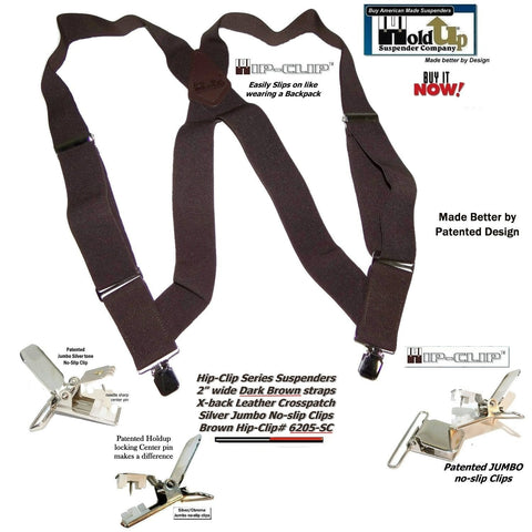 "Holdup 2"" wide Dark Brown Hip-clip Side Clip Suspenders with Jumbo No-slip Clips"