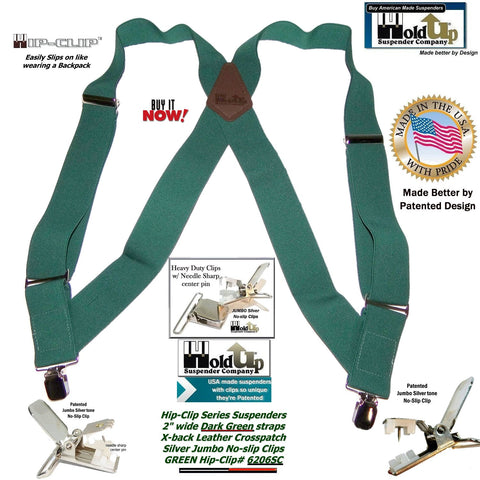 Holdup Brand Dark Green Hip-clip Side Clip Suspenders with jumbo no-slip clips