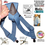 "Hold-Ups Light Blue Denim Trucker Style 2"" Wide Hipclip Suspenders with Patented Jumbo No-slip Clips"