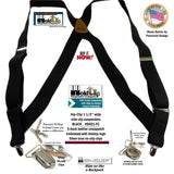 Holdup Brand Black Trucker Style Hip-clip X-back Suspenders with silver No-Slip Clips