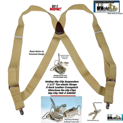 "Hold-Ups Tan Trucker Style Hip-clip Series Suspenders in 1 1/2"" Width and Patented No-slip Silver Clips"