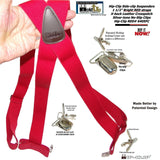 "Hold-Ups Red Trucker Style Side Clip Hip-clip Series Suspenders in 1 1/2"" Width"