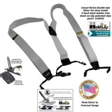 "Holdup Brand Silver Fox Grey Dual-clip Double-ups Style Suspenders 1 1/2"" wide with Patented No-slip Clips"