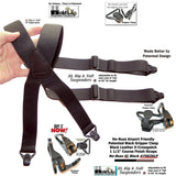HoldUp XL No-buzz Black Airport Friendly X-back Style Suspenders with Patented Gripper Clasps