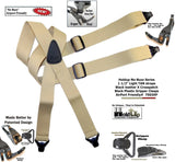 HoldUp Brand No-buzz Airport Friendly TAN Suspenders in X-Back style and Patented Gripper Clasps