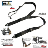 Holdup Brand No-buzz Black Y-back Airport Friendly Suspenders with Patented black Gripper Clasps