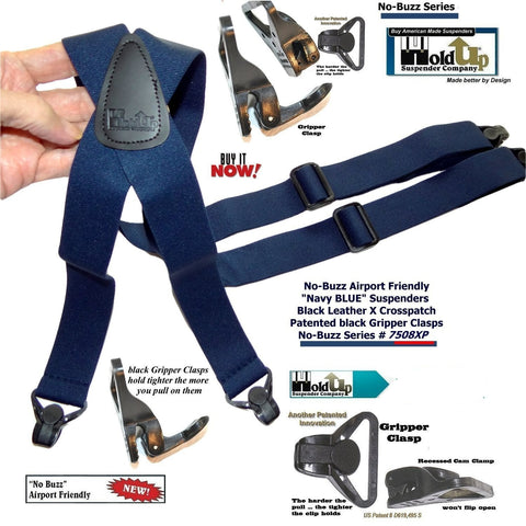 Hold-Ups Blue No-buzz Airport Friendly Suspenders X-back Patented Gripper Clasps