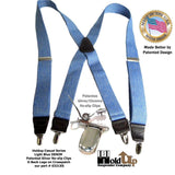 "Holdup Brand Light Blue Denim color Suspenders with USA made 1 1/2"" wide straps in X-back styles with Patented No-slip Silver Clips"