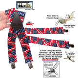 USA Old Glory Flag Pattern X-Back Holdup Suspenders with Patented No-slip Silver Clips