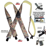 Holdup Brand Ourdoorsman Series wide work suspenders in the Fish tales pattern and jumbo patented no-slip center pin clips