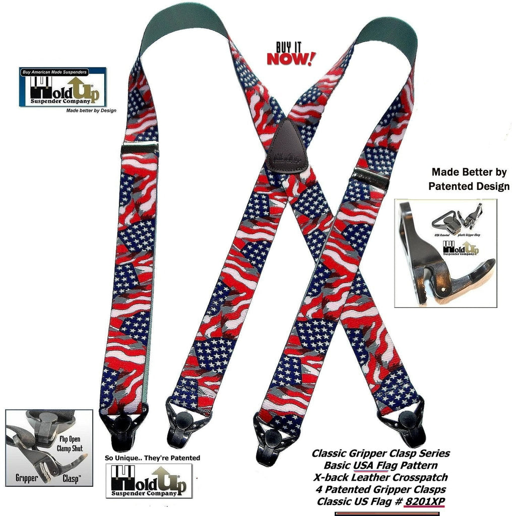 Classic Series American Flag Suspender with Patented Black Gripper Clasp