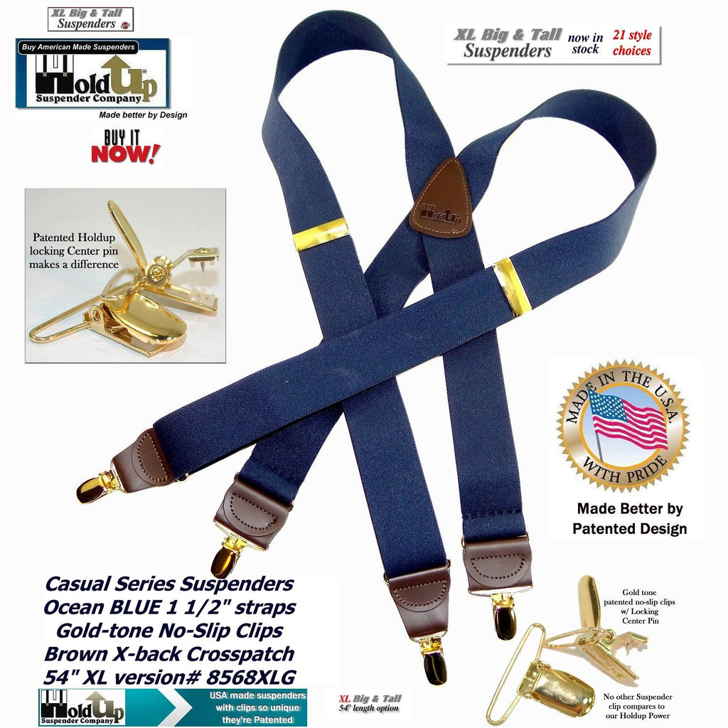 HoldUp Brand XL Dark Ocean Blue Holdup X-back suspenders for the Big and Tall man with gold tone patented no-slip clips