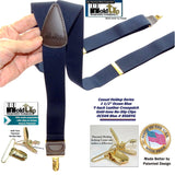 HoldUp Brand Dark Ocean Blue Y-back Casual Series Suspender with Gold-tone no-slip Clips