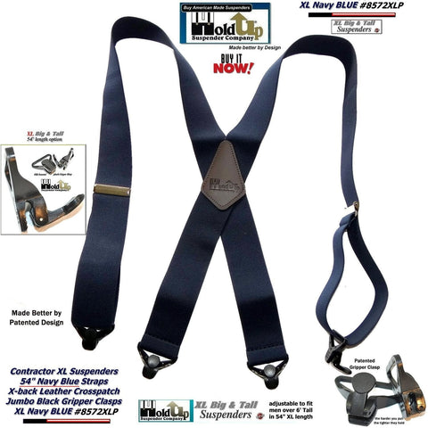 6a7daf06d49 ... Fire Engine Red Dual Clip Double-ups Style Suspenders.   41.95   44.95.  Hold-Ups Extra Long XL Navy Blue work Suspenders with Jumbo Gripper Clasps