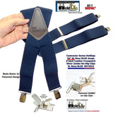 Holdup Suspender Company Extra Long XL Navy Blue wide work Suspenders with Jumbo Silver tone No-slip Clips