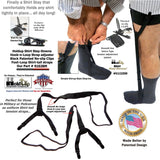 Holdup Shirttail Stay-Downs  tightening straps in Stirrup Style with Patented No-slip metal Clips