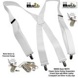 Holdup Suspender Company Classic Series All White X-back clip-on Suspenders with Patented Silver No-sli