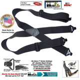 "No-buzz HoldUp Airport Friendly 2"" Wide Black X-back Suspenders with Patented Black Gripper Clasps"