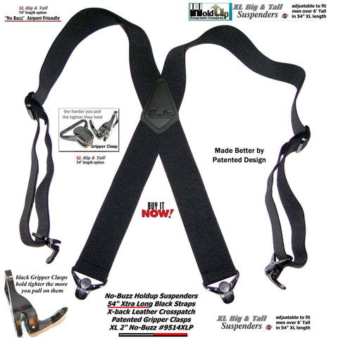 "Hold-Ups 2"" wide XL Airport Friendly Black X-back Suspenders with 4 Patented Gripper clasps"
