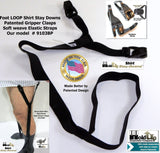 Holdup USA made Stirrup Style Shirt Tail Straps with Patented Gripper Clasps called Shirt Stay Downs