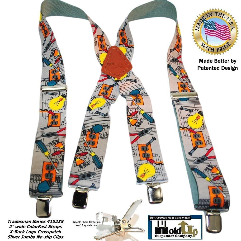 "Holdup Brand 2"" Wide Tradesman Work Suspenders in Electrician Pattern X-back with Patented No-slip Clips"