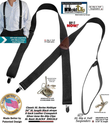 "Holdup Suspender Classic Series Black XL 54""longer Suspenders in X-back style with Patented No-slip Clips."
