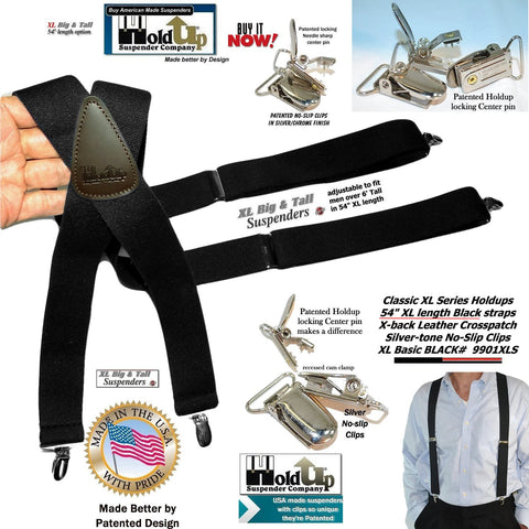 "Holdup Suspender Co Classic Series Black XL 1 1/2"" wide Suspenders in X-back style with Patented No-slip Clips."
