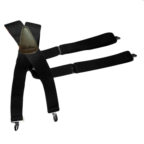 3db7feed5a5 Holdup Suspender Brand Classic X-back Black Suspenders with no-slip  Patented clips