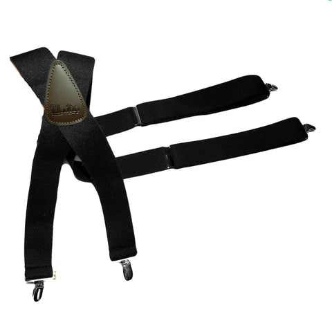Holdup Suspenders in Classic X-back Series Black Suspenders in X-back style with silver tone no-slip Patented clips