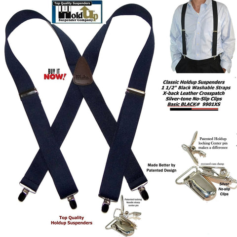 Holdup Suspender Brand Classic X-back Black Suspenders with no-slip Patented clips