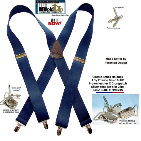 HoldUp Brand Classic Series Basic Dark Blue X-back Suspenders with Patented Silver tone No-slip Clips