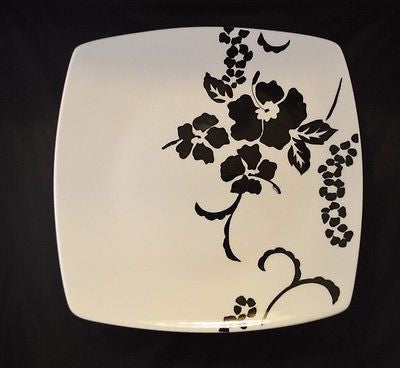 Fine China, Black and White Hawaiian Floral Cake Stand,Platter -  - 2