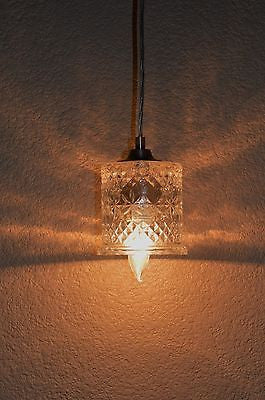 Clear Diamond Cut Pattern Vintage Glass Shade Pendant Light Ceiling Lamp -  - 2
