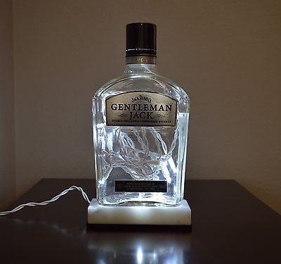 Recycled Liquor Light Bottle Gentleman Jack Empty Clear on Marble Base 750ml -  - 1