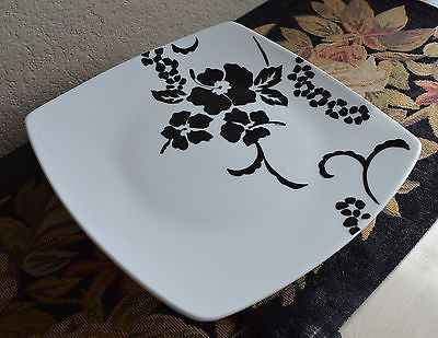 Fine China, Black and White Hawaiian Floral Cake Stand,Platter -  - 3