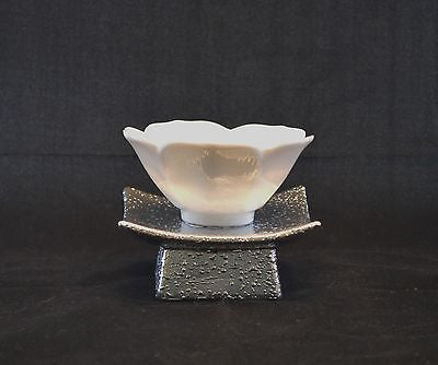 White Lotus Flower Ceramic Tea Light Candle Holder w/Silver Metal Base-Handmade -  - 4