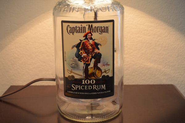 Captain Morgan Spiced Rum Bottle Table Lamp With Black Fabric Shade