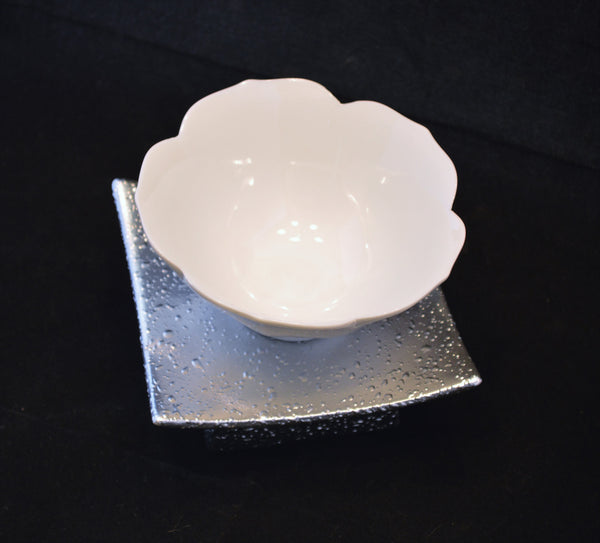 White Ceramic Lotus Tea Light Candle Holder