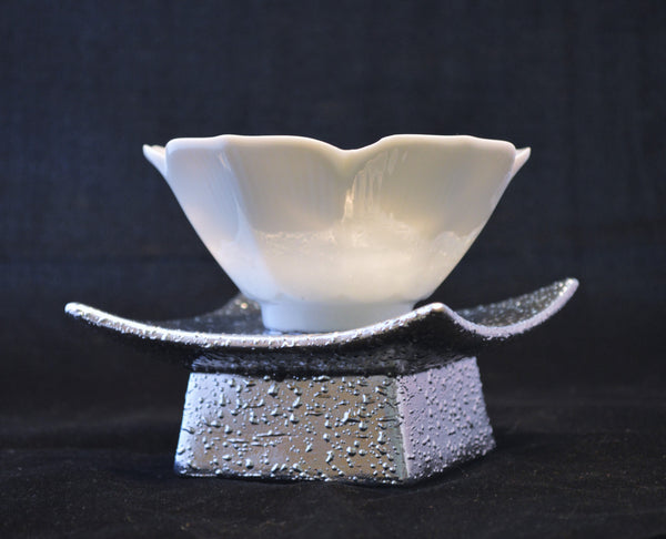 Ceramic White Lotus Tea Light Candle Holder on Metal Base