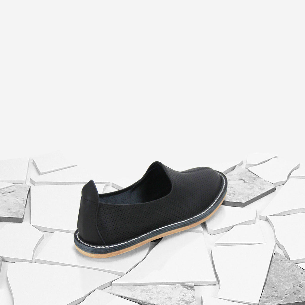 Black Perforated Classic Moccasin