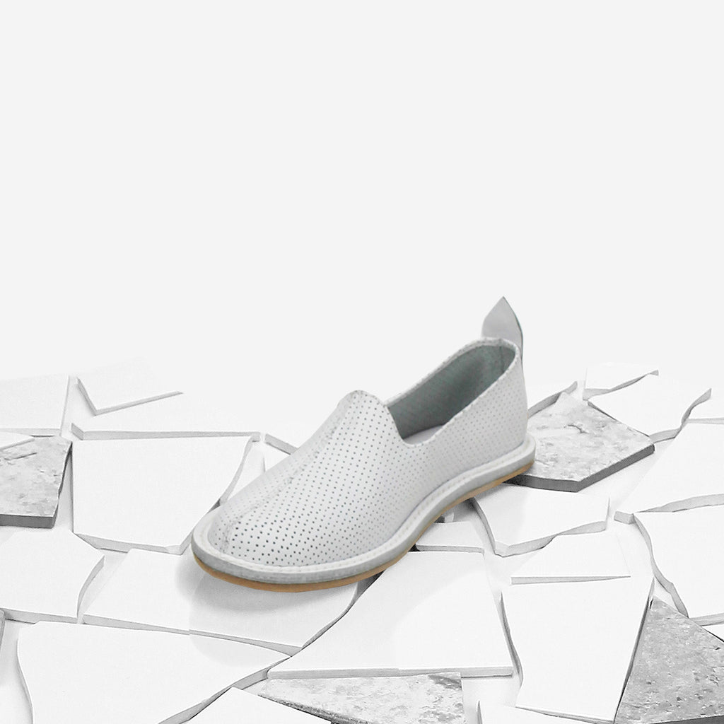 White Perforated Classic Moccasin