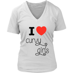 I Love Curvy Girls Women's V-neck Tees, Tanks, and Tee Shirts/Nightshirts - 6 Colors