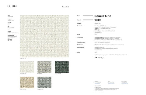 BOUCLE GRID SAMPLE CARD