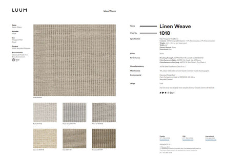 LINEN WEAVE SAMPLE CARD