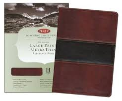 NKJV Large Print Ultrathin Ref Bible Mahogany Leathertouch