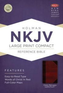 NKJV Large Print Compact Reference Bible, Classic Mahogany