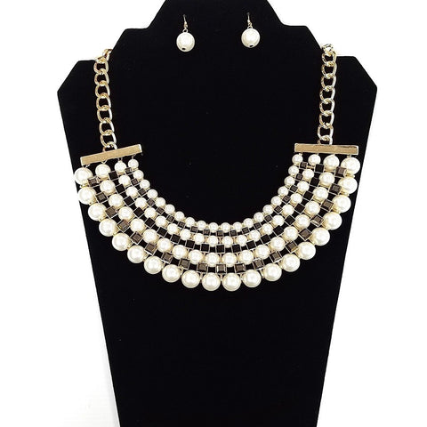 Necklace and Earring Set - Gold plated body with imitation Pearl and Onyx