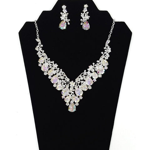 Necklace and Earring Set - Silver plated body with Rhinestone Crystal