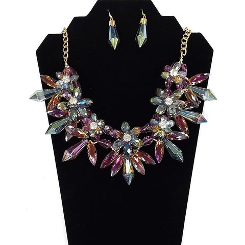 Necklace and Earring Set - Gold plated body with Multi-Colored Rhinestones